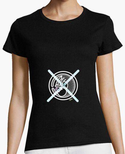 Camiseta Gato Cruz Celeste Mujer