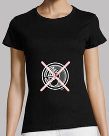 Camiseta Gato Cruz Rosa Mujer