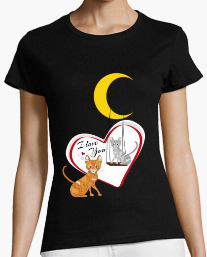 Camiseta Gatti innamorati con luna