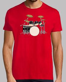 Camiseta grana Bateria Hombre Drum Kit