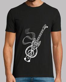 camiseta guitarra blanco nota musica festival hombre