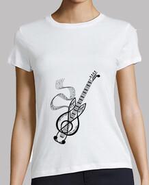 camiseta guitarra negro nota musica mujer