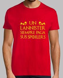 Camiseta hombre - Juego de Tronos - Un Lannister siempre paga sus spoilers