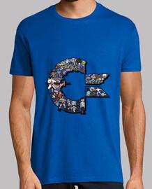 Camiseta Hombre Azul Logo C Personajes C64