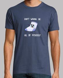 Camiseta hombre calcetin solitario letras blancas
