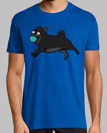 Camiseta hombre con Perros Pug Carlino Negro