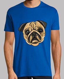 Camiseta hombre diseño Cara Perro Pug Carlino
