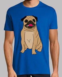 Camiseta hombre diseño Dibujo perro pug carlino