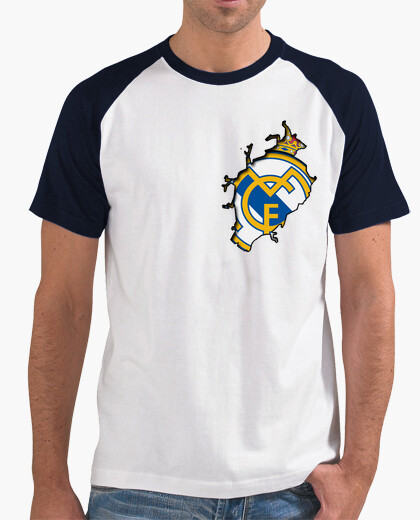 Camiseta Hombre, estilo béisbol, blanca y azul marino