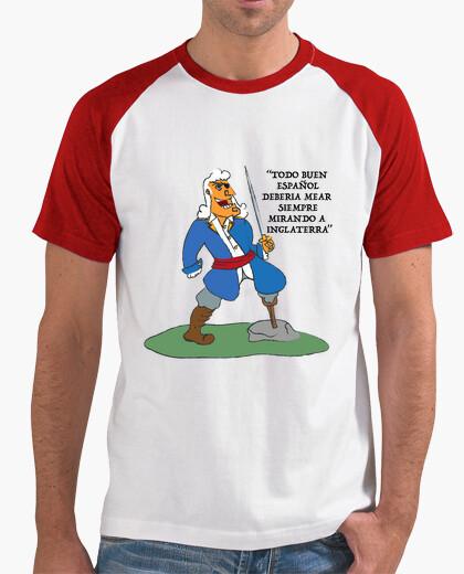 Camiseta Hombre, estilo béisbol, blanca y roja Blas