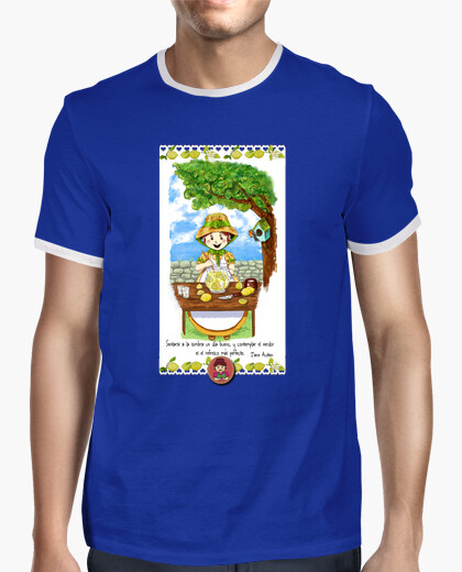 Camiseta Hombre, estilo retro, azul royal y blanca