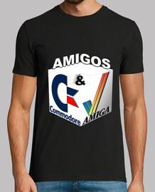 Camiseta Hombre Modelo Amigos Commodore & Amiga Negra