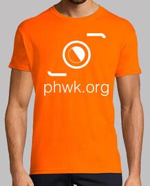 camiseta hombre naranja logo blanco