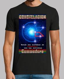 Camiseta Hombre Negra Logo Constelación Commodore