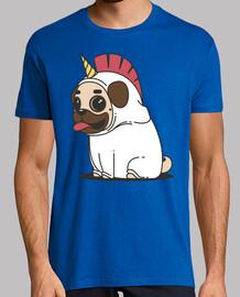 Camiseta hombre Perro Carlino Unicornio Pug