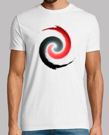 Camiseta Hombre, rojo y blanco espiral mejor