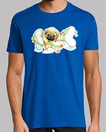 Camiseta homnre diseño Perro pug carlino con hueso
