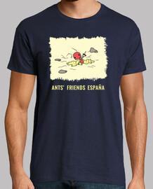 Camiseta Hormiga cavando estampado ocre con letras
