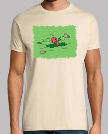 Camiseta Hormiga cavando estampado verde sin letras
