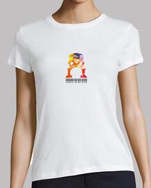 Camiseta icónica violonchelo pintura Mujer, manga corta, blanca, calidad premium