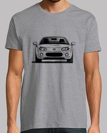 Camiseta impresa delante y detrás, con las vista frontal y trasera del MX5 NC