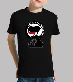 camiseta infantil - gato antifa rojo