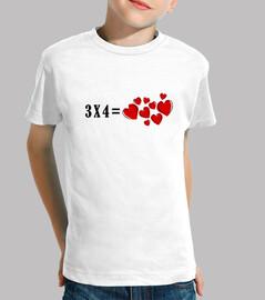 Camiseta infantil 3x4 igual corazones