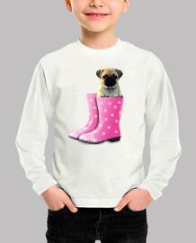 Camiseta infantil , carlino y botas de agua rosa