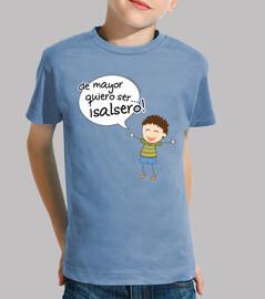 camiseta infantil de mayor quiero ser salsero, chico
