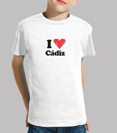 Camiseta infantil I love cadiz corazon