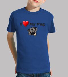 Camiseta infantil I love my pug