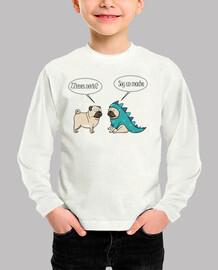 Camiseta infantil pug dinosaurio