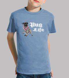 Camiseta infantil pug life