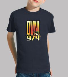 camiseta infantil, ufo 974, estampado en parte delantera y trasera.