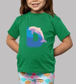 camiseta infantil verde letra D