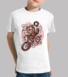 Camiseta Juvenil Castor en Bicicleta Cart