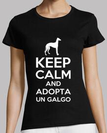 Camiseta Keep calm and adopta un galgo