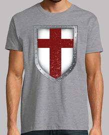 Camiseta Knightfall - Escudo Templarios Hombre, manga corta, gris vigoré, calidad extra