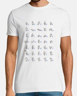 Camiseta lenguaje de signos Gris Hombre, manga corta, blanco, calidad extra