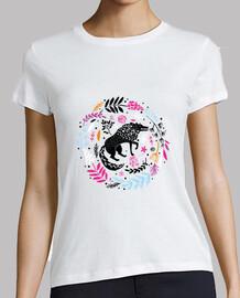 Camiseta lobo floral