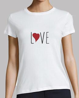 Camiseta love, mujer, manga corta, blanca, calidad premium