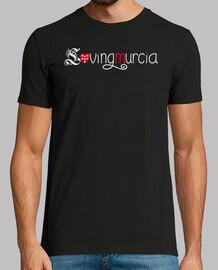 Camiseta LovingMurcia Hombre, manga corta, negra, calidad extra