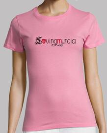 Camiseta LovingMurcia Mujer, manga corta, rosa, calidad premium