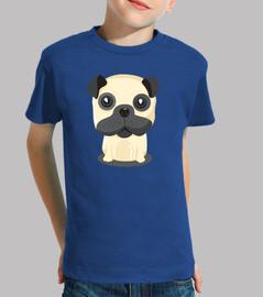Camiseta manga corat niño Diseño Perro Pug Sentado