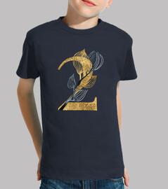 Camiseta manga corta 2 años niña con número dorado