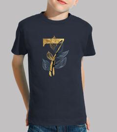 Camiseta manga corta 7 años dorado niña