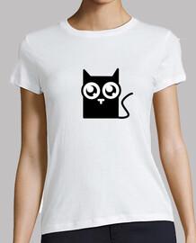 Camiseta manga corta gato Negro