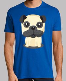 Camiseta manga corta hombre diseño Perro Pug Sentado