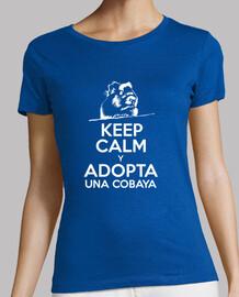 Camiseta manga corta mujer Keep calm y adopta una cobaya