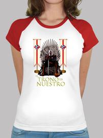 Camiseta manga corta para mujer SDHuesca El Trono es Nuestro, blanca y roja